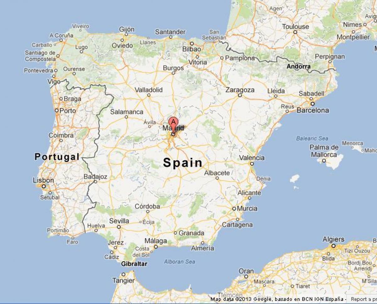 Madrid Espana Map Karte Von Spanien Zeigt Madrid Spanien